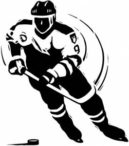 Cartoon drawing of a hockey player hitting the puck
