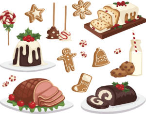 Christmas food vector set.