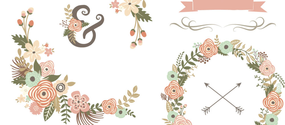Retro Floral Elements- illustrations for wedding