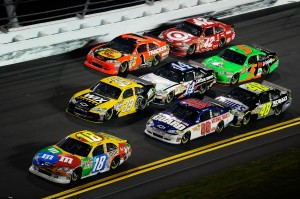 NASCAR pack during a race