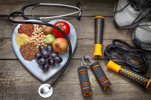 Healthy self-care lifestyle concept with diet and fitness.