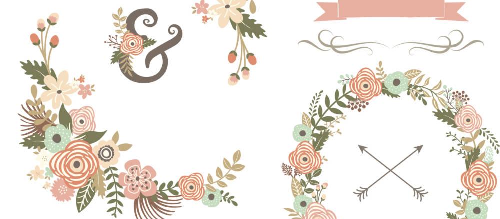 Retro Floral Elements- illustrations for wedding