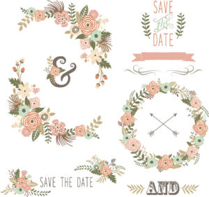Retro Floral Elements- illustrations for wedding invitations.